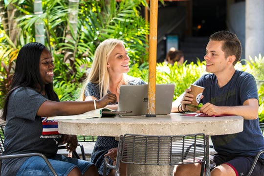 college students sitting at outdoor table