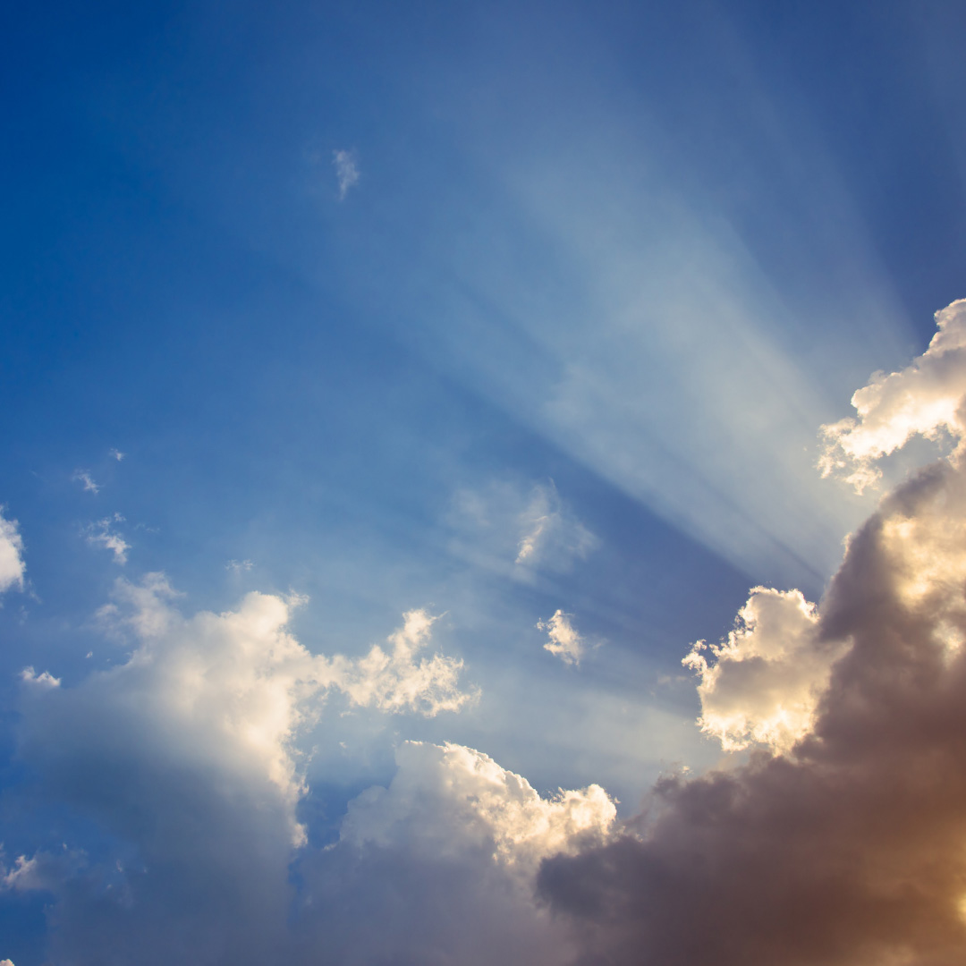Sky clouds and ray of sunshine graphic